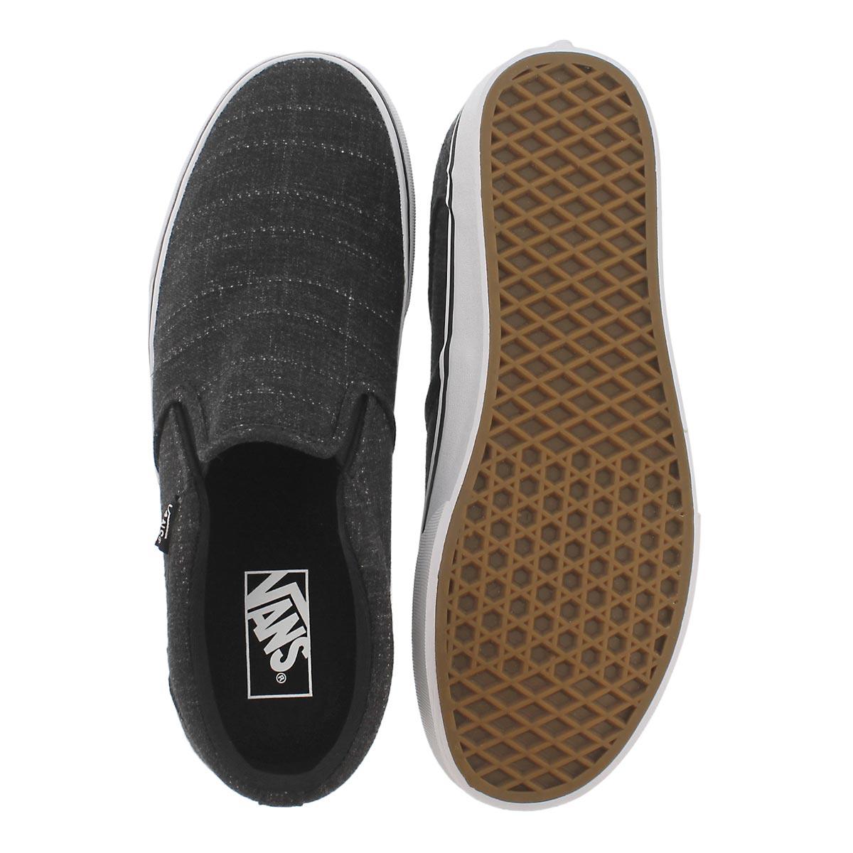 Mns Asher blk/wht slip on sneaker