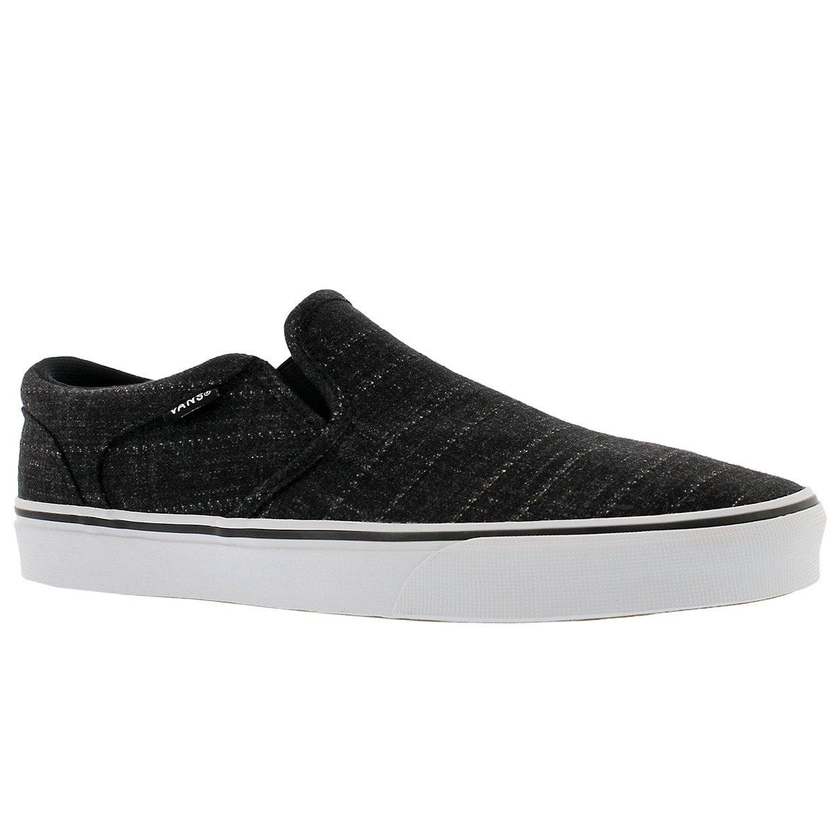 Men's ASHER black/white slip on sneakers