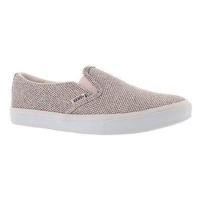 Lds Asher Low pnk sprkl slip on sneaker