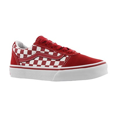 Bys Ward chilli/wht chkr lace up sneaker