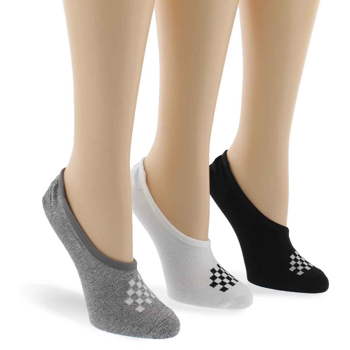 Lds BasicCanoodle bk/gy/wt ankle sock 3p