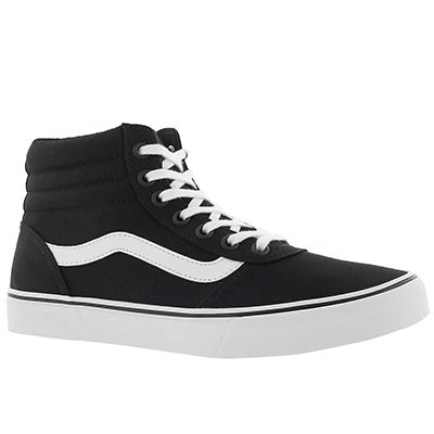Lds Maddie Hi blk/wht laceup sneaker