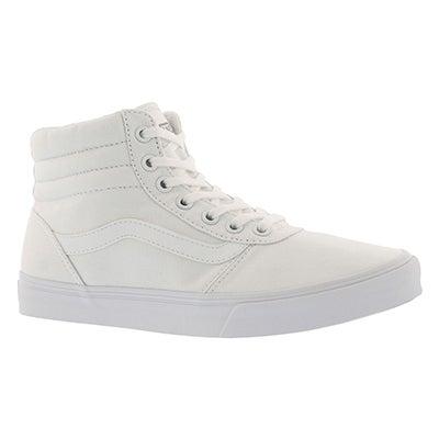 Lds Maddie Hi wht/wht laceup sneaker