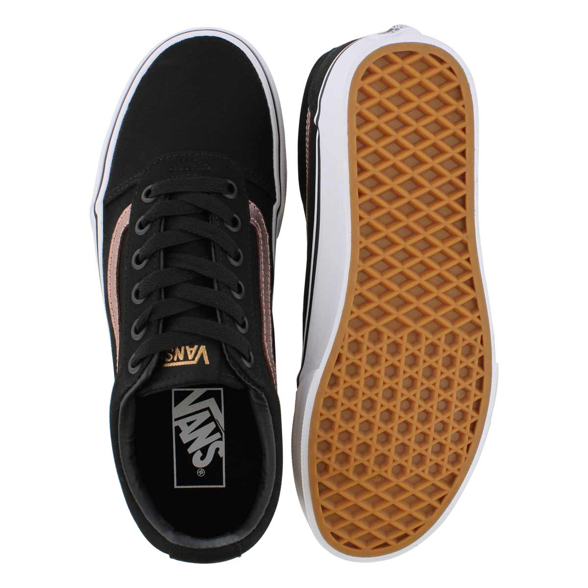 Lds Ward blk/rse gld lace up snkr