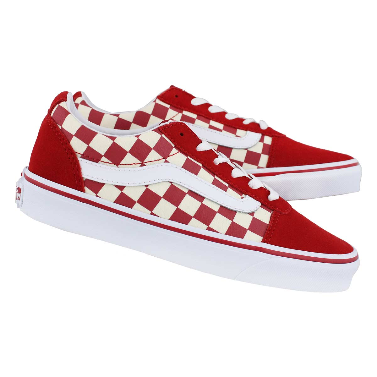 Lds Ward-Checker red/wht lace up snkr