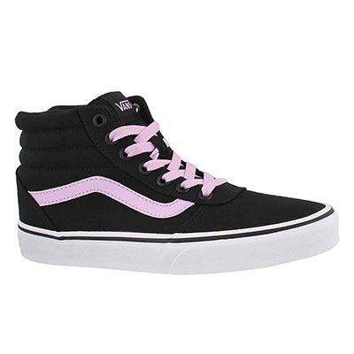 Lds Ward Hi blk/lilac laceup sneaker