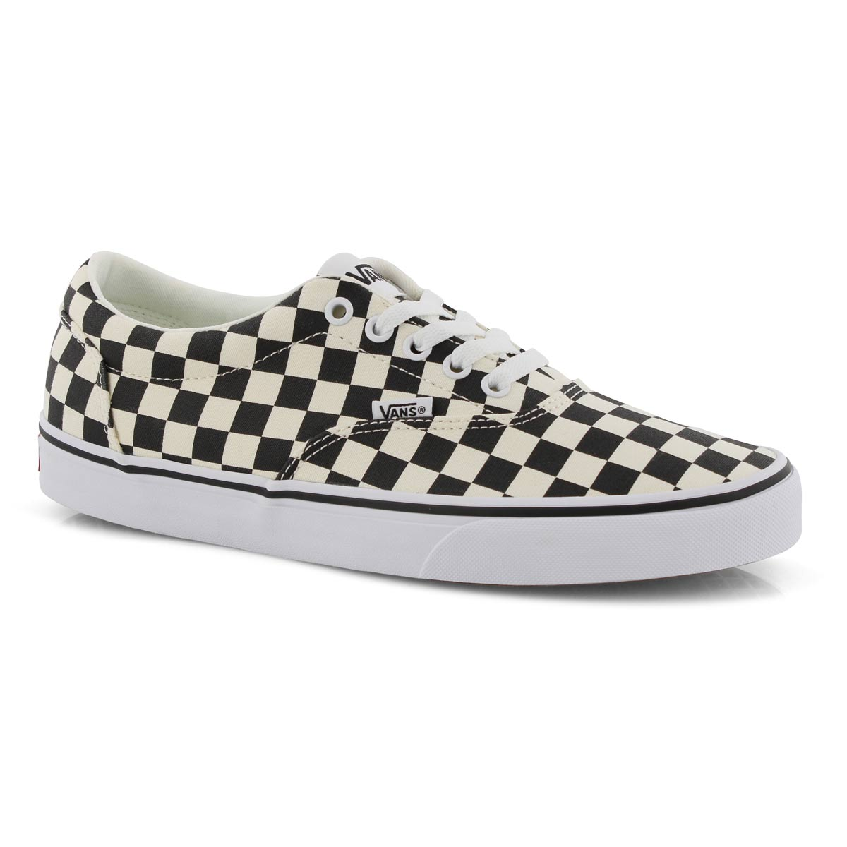 black and white checkered vans lace up