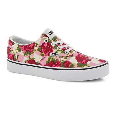 Lds Doheny floral pnk/wht lace up snkr