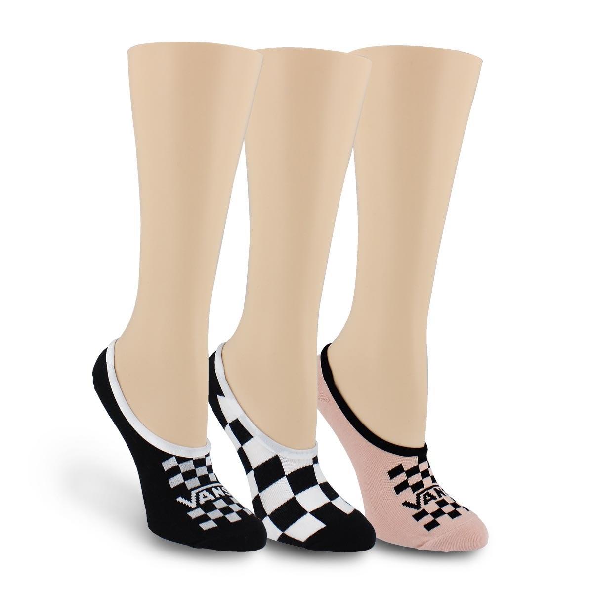 Lds BasicCanoodle bk/gy/pk ankle sock 3p