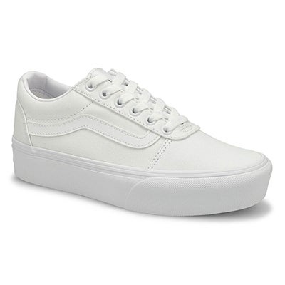 Lds Ward-Platform wht/wht lace up snkr