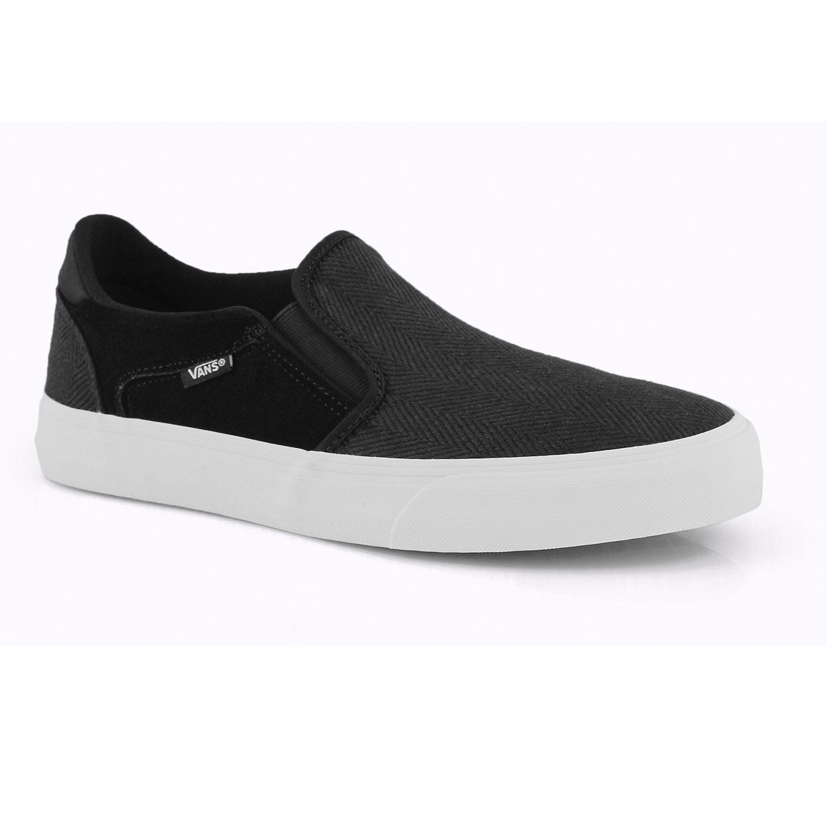 high fashion closer at sneakers for cheap Vans Men's ASHER DELUXE black/ white slip on   SoftMoc.com