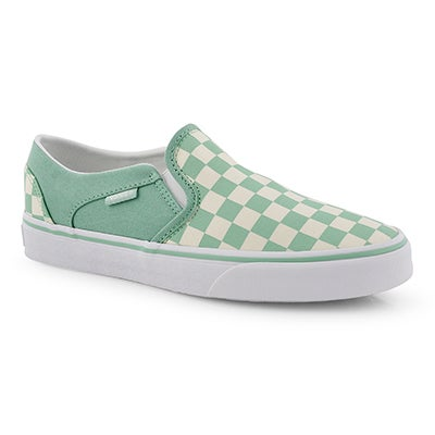 Lds Asher-Checker grn/wht slip on snkr