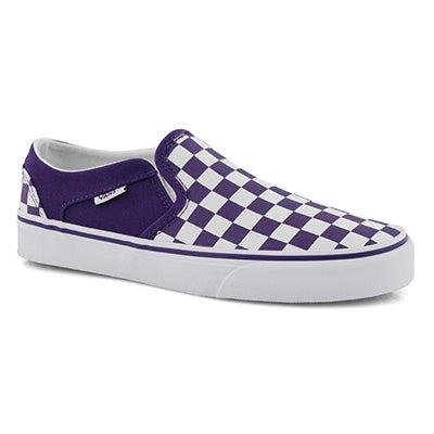 Lds Asher violet/wht checkered slip on