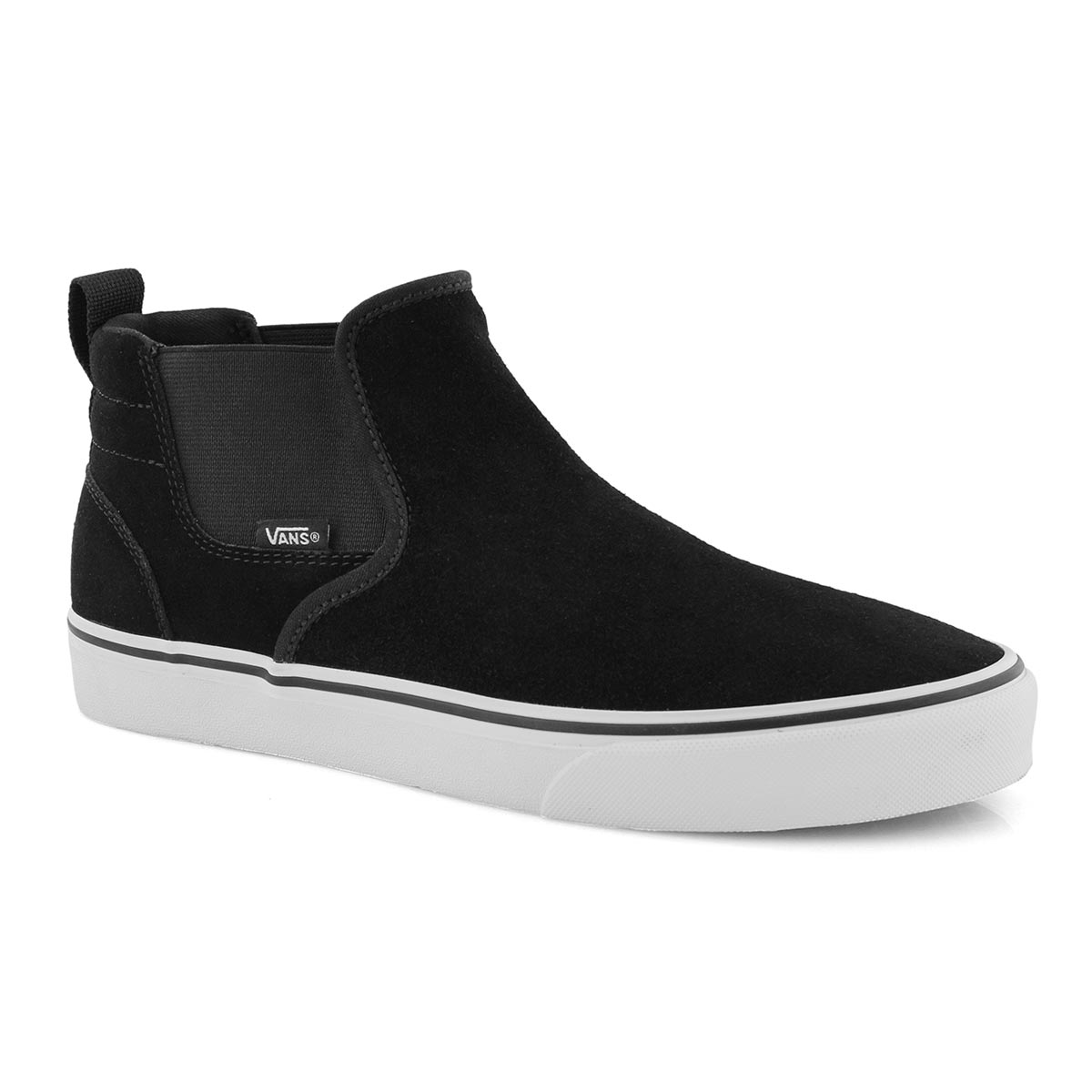 Mns Asher Mid blk slip on sneaker