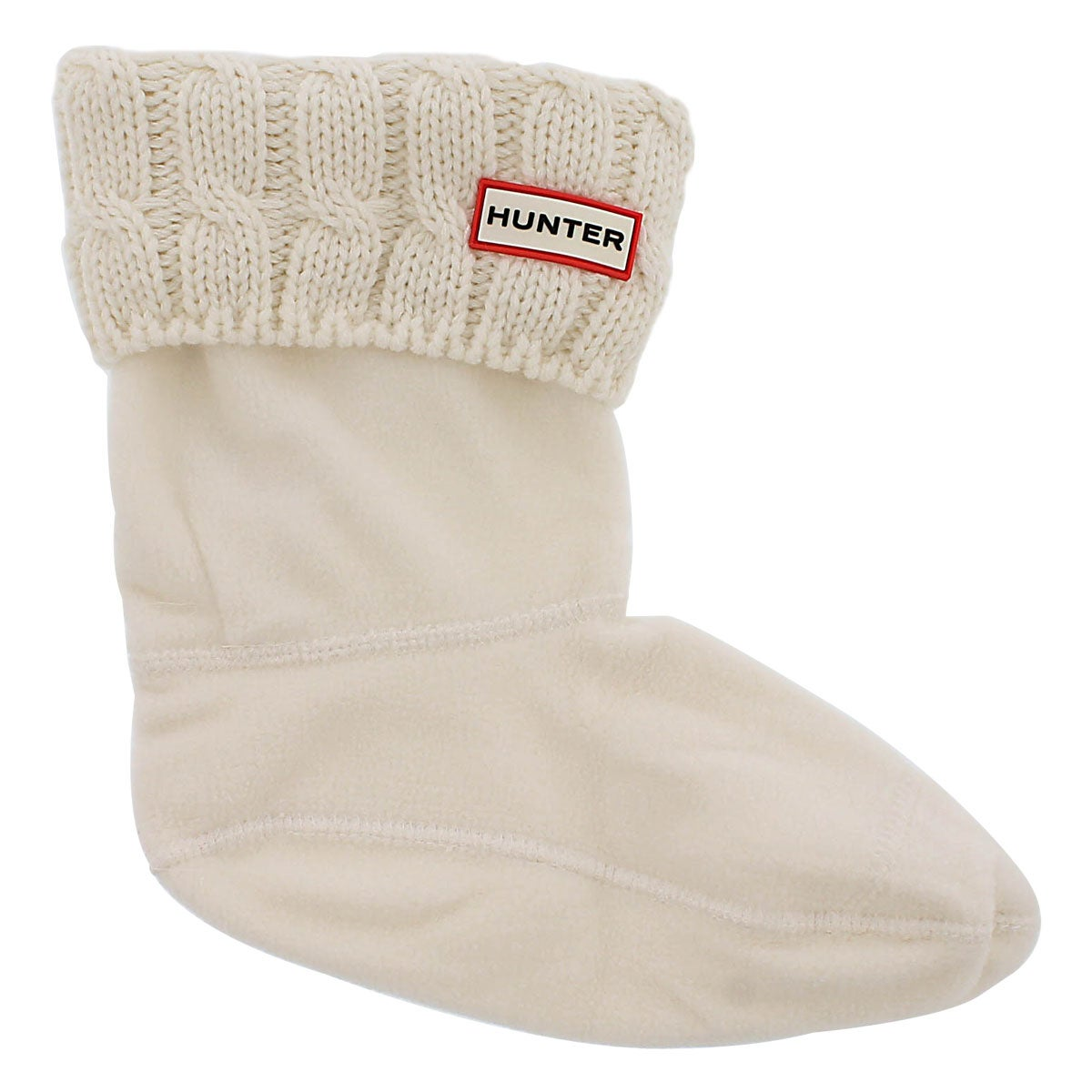 Lds 6 Stitch Cable white short boot sock