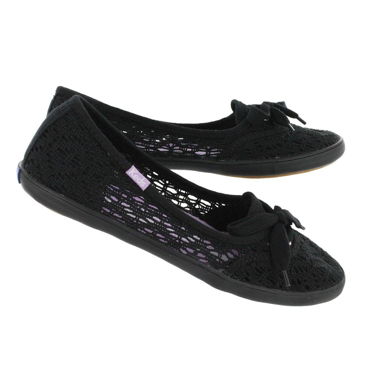 Lds Teacup Crochet black slip on