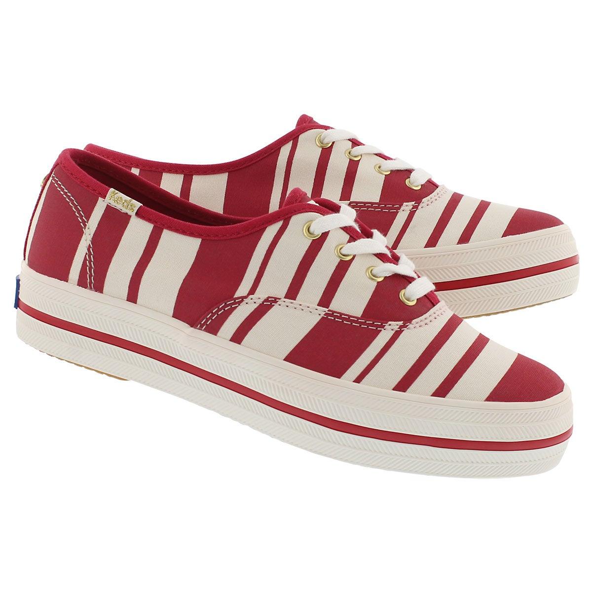 Lds Kate Spade Triple Stripe red snkr