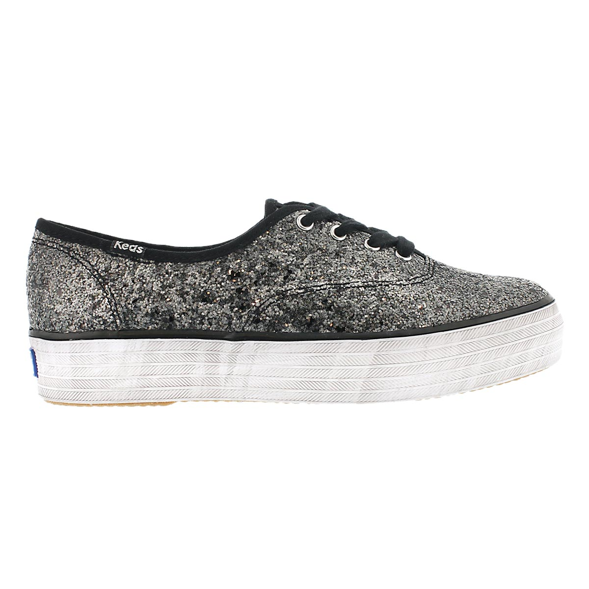 Lds Triple Glitter black fashion sneaker