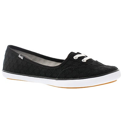 Keds Women's TEACUP EYELET black slip ons