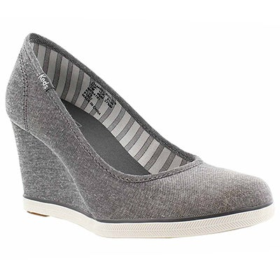 Lds Damsel pewter chambray wedge