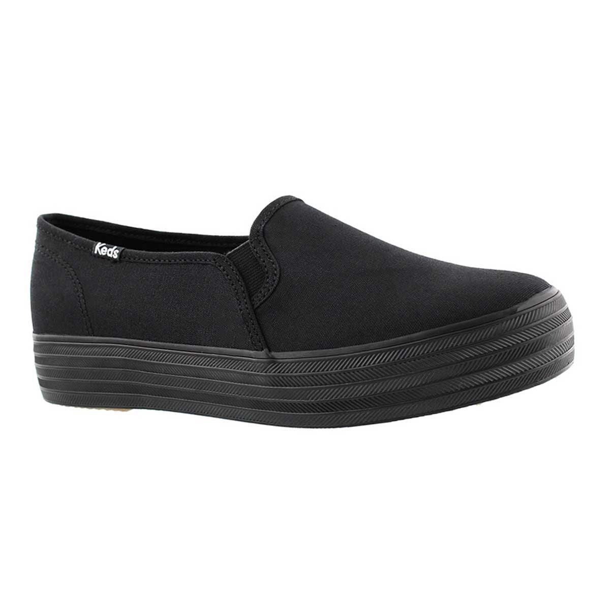Women's TRIPLE DECKER black/black slip ons