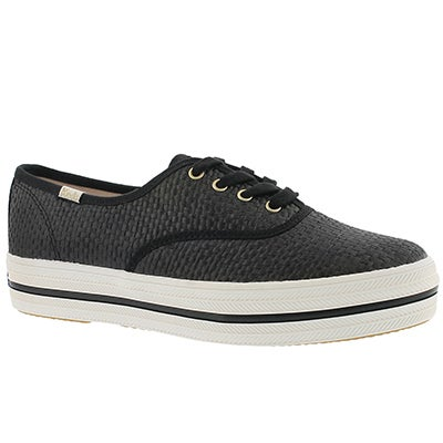 Keds Women's TRIPLE KATE SPADE RAFFIA black sneakers