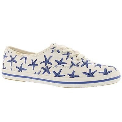 Lds Kate Spade white/blue sneaker