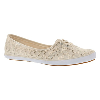 Keds Women's TEACUP EYELET natural slip ons