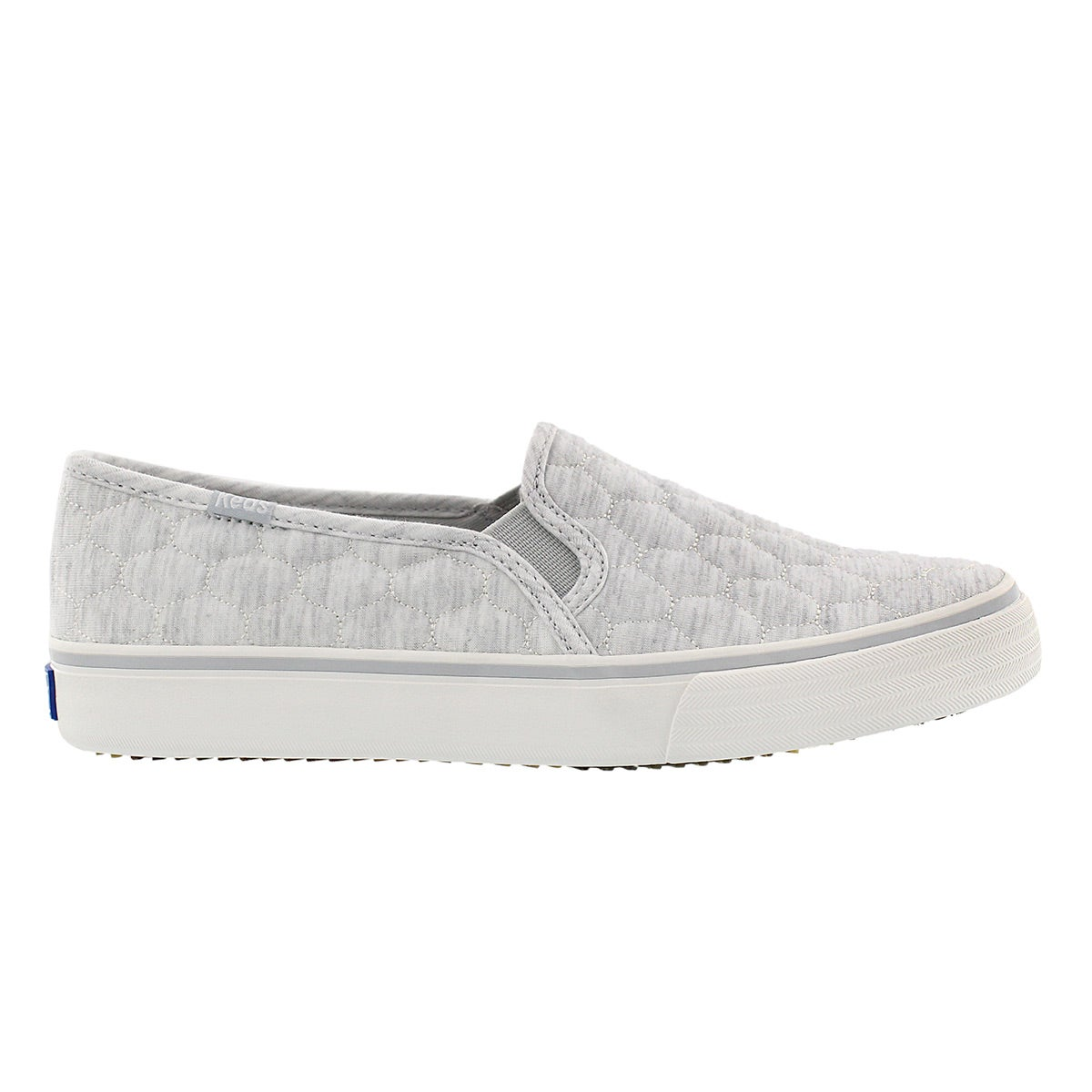 Lds Double Decker Quilted grey slip on