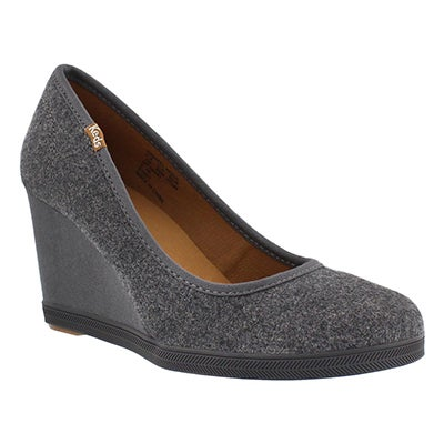 Keds Women's DAMSEL WOOL charcoal wedges