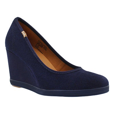 Keds Women's DAMSEL WOOL navy wedges