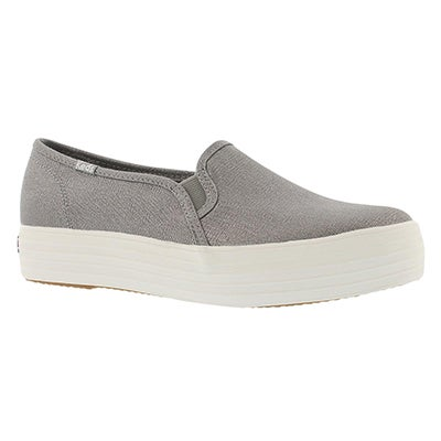 Lds Triple Decker Metallic silvr slip on