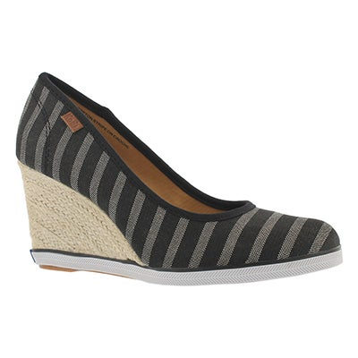 Lds Damsel blk stripe twill wedge