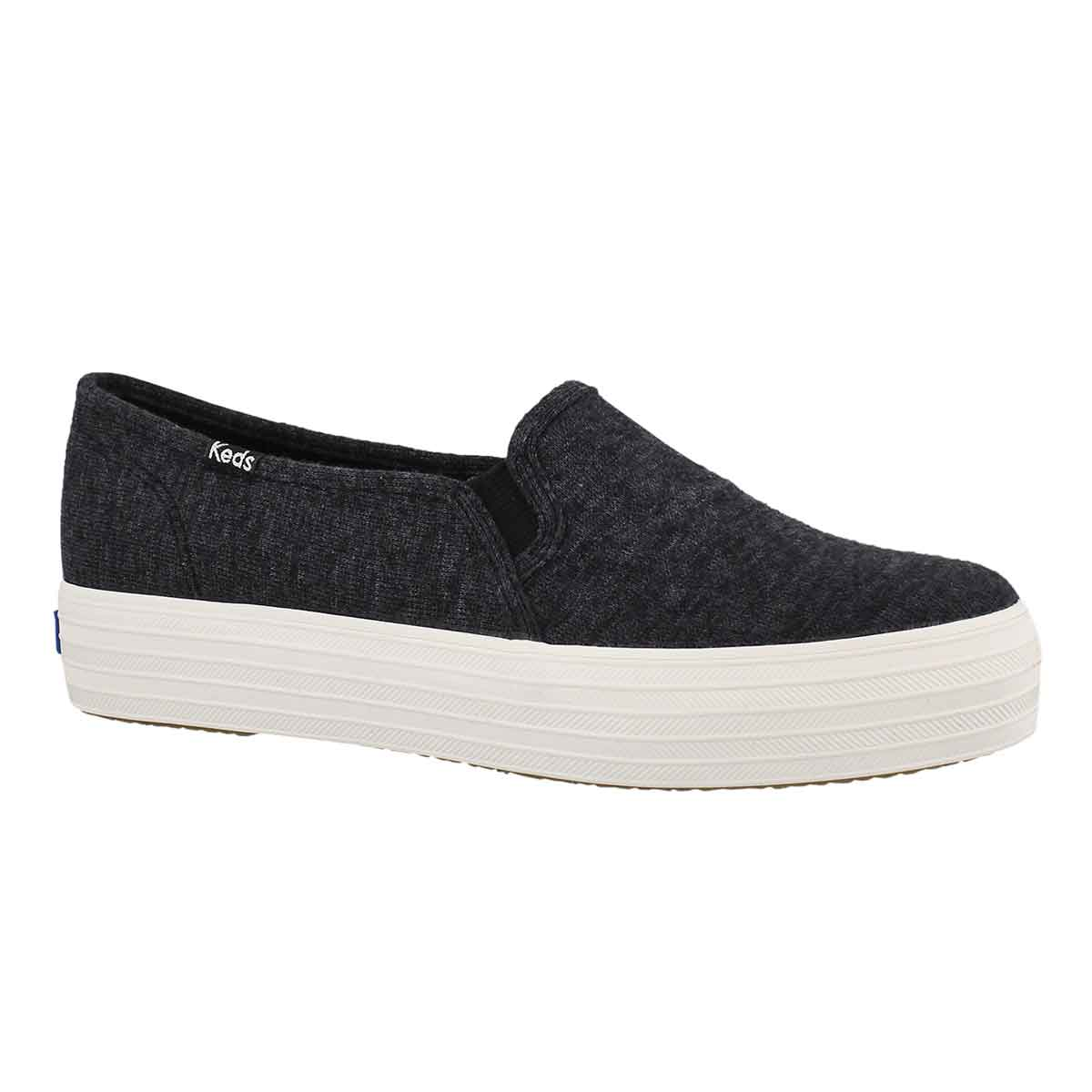 Women's TRIPLE DECKER JERSEY blk slip on sneakers