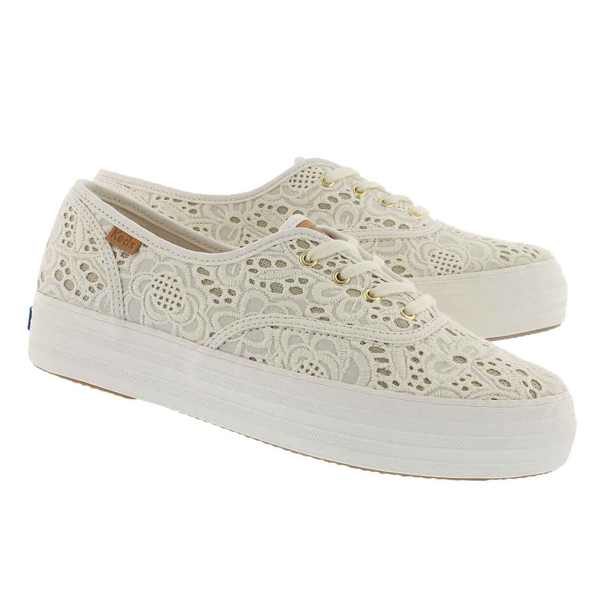 Lds Triple Embroidered Crochet crm snkr