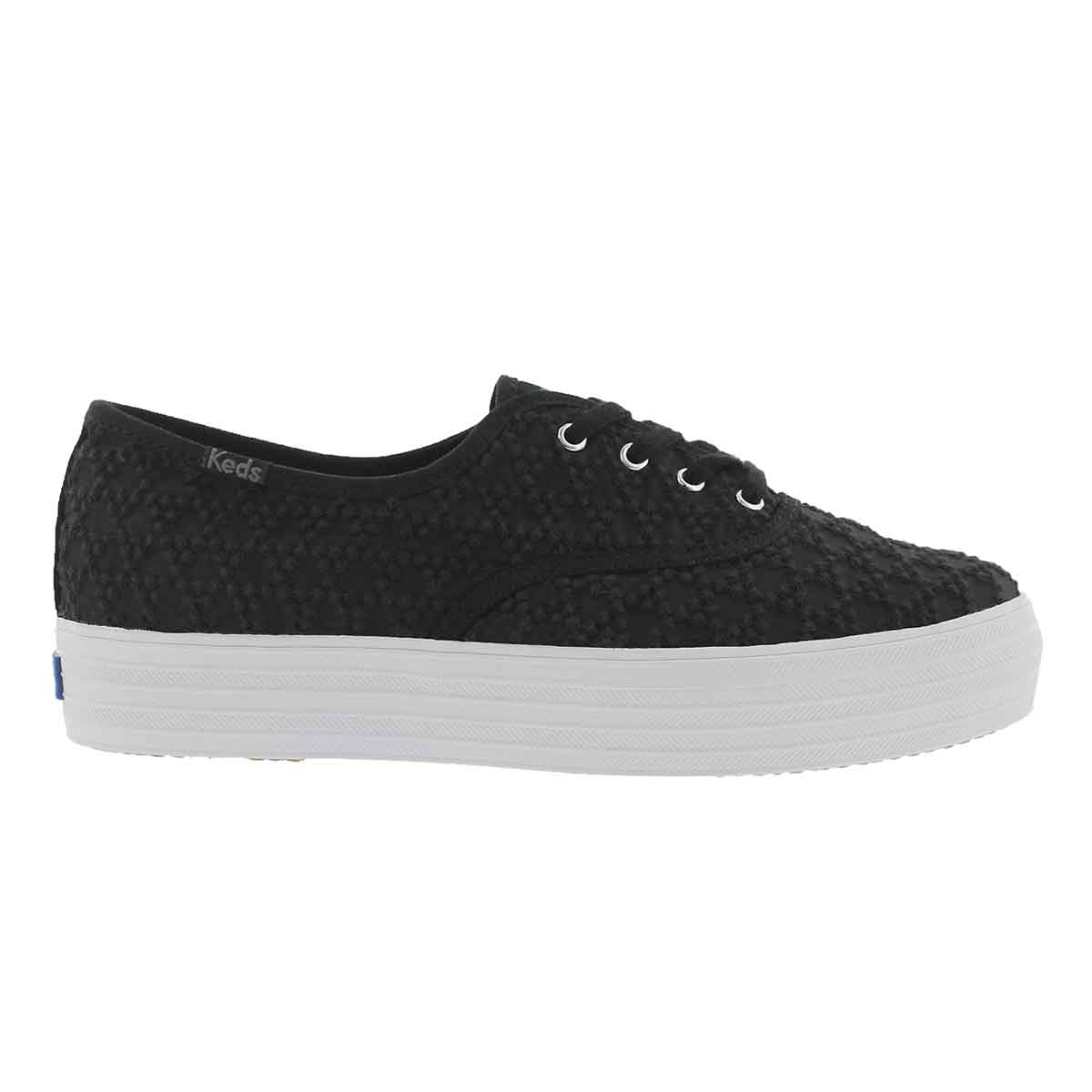 Lds Triple Embroidered Triangle blk snkr