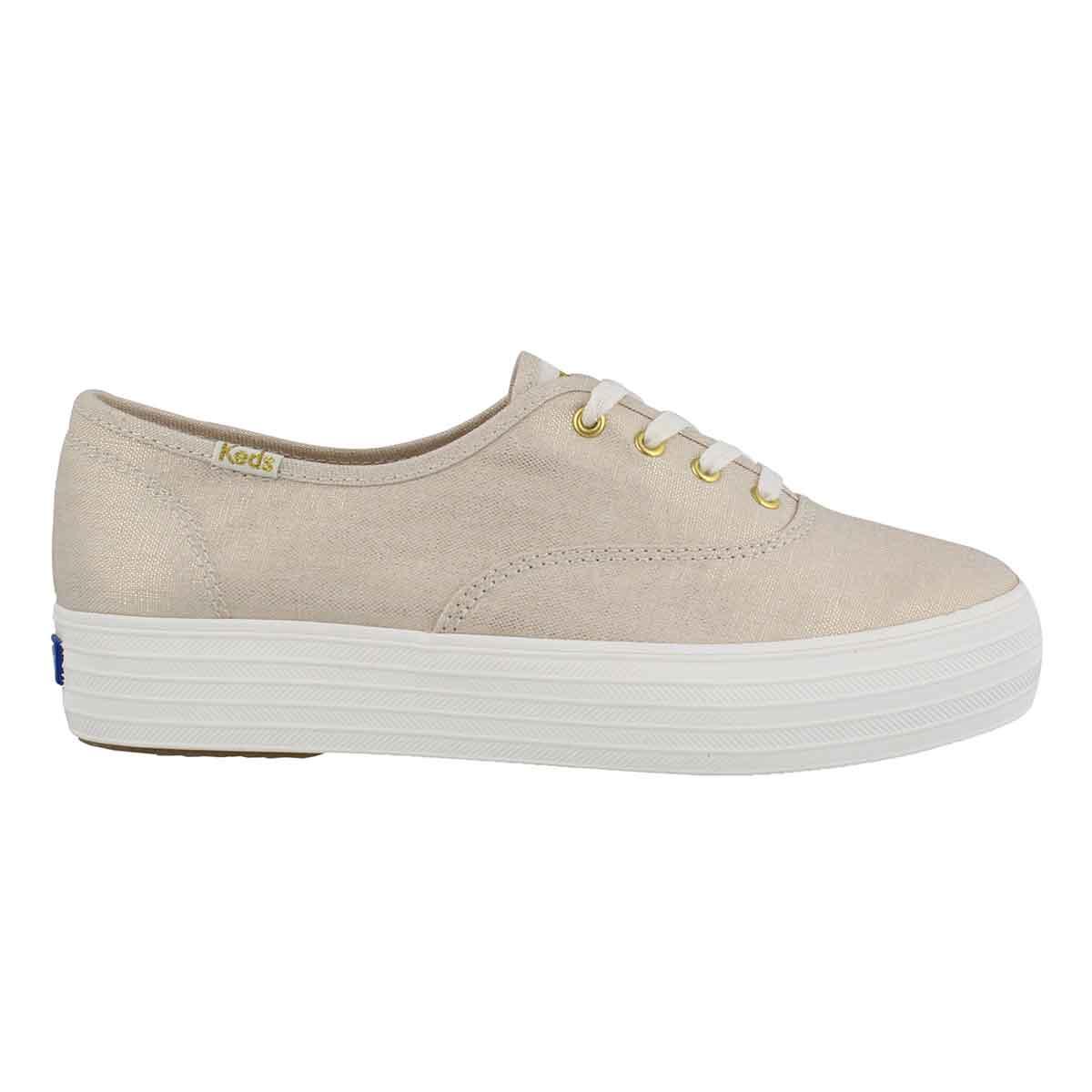 Lds Triple Metallic Linen gold sneaker