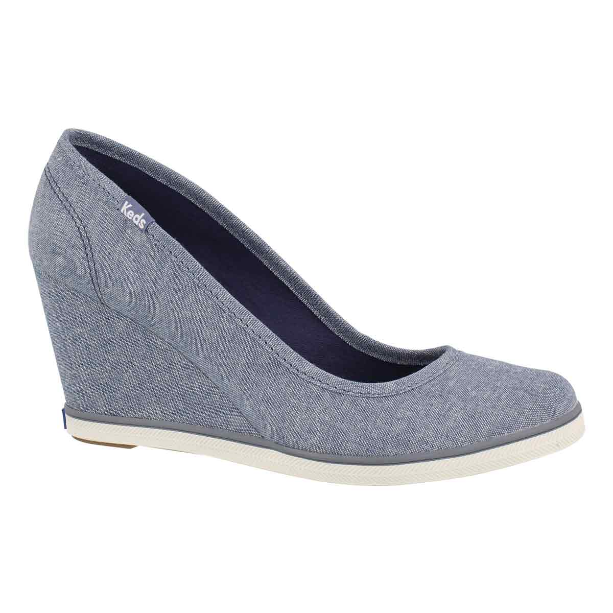 9f3db46346c Keds Women s DAMSEL blue chambray wedge