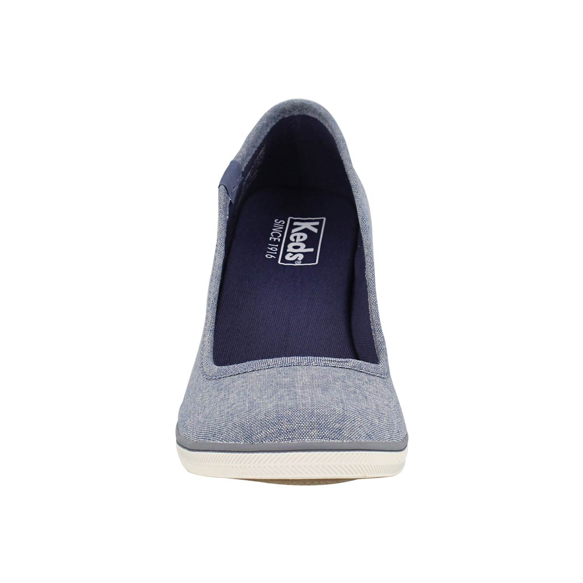 Lds Damsel blue chambray wedge