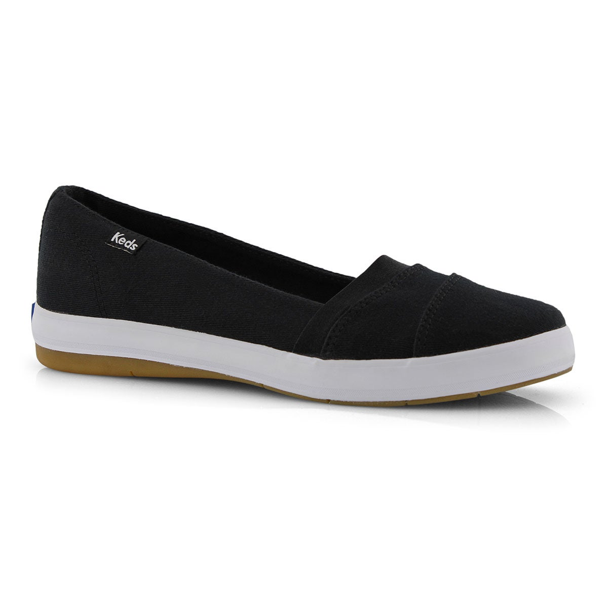 Lds Carmel Twill black slip on shoe