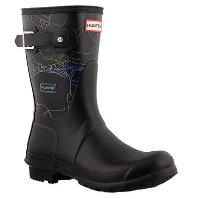 Lds Orig Short Fest. Print blk rain boot