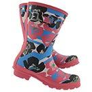 Lds Org Shrt Floral Strp peony rain boot