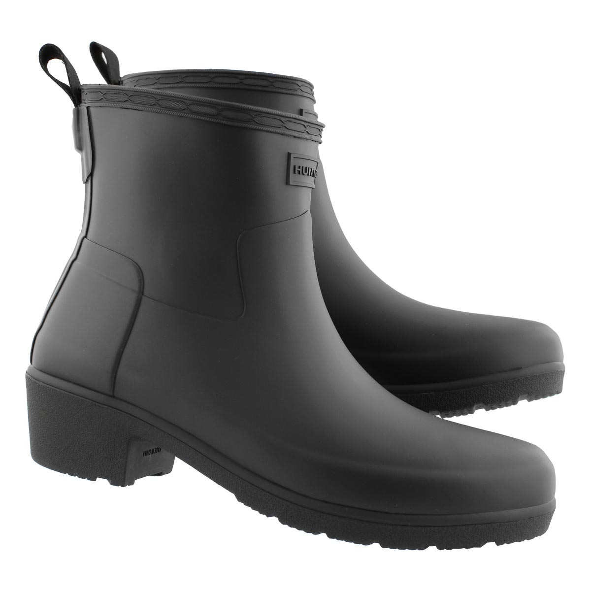 Lds Refined Low Heel blk ankle rainboot