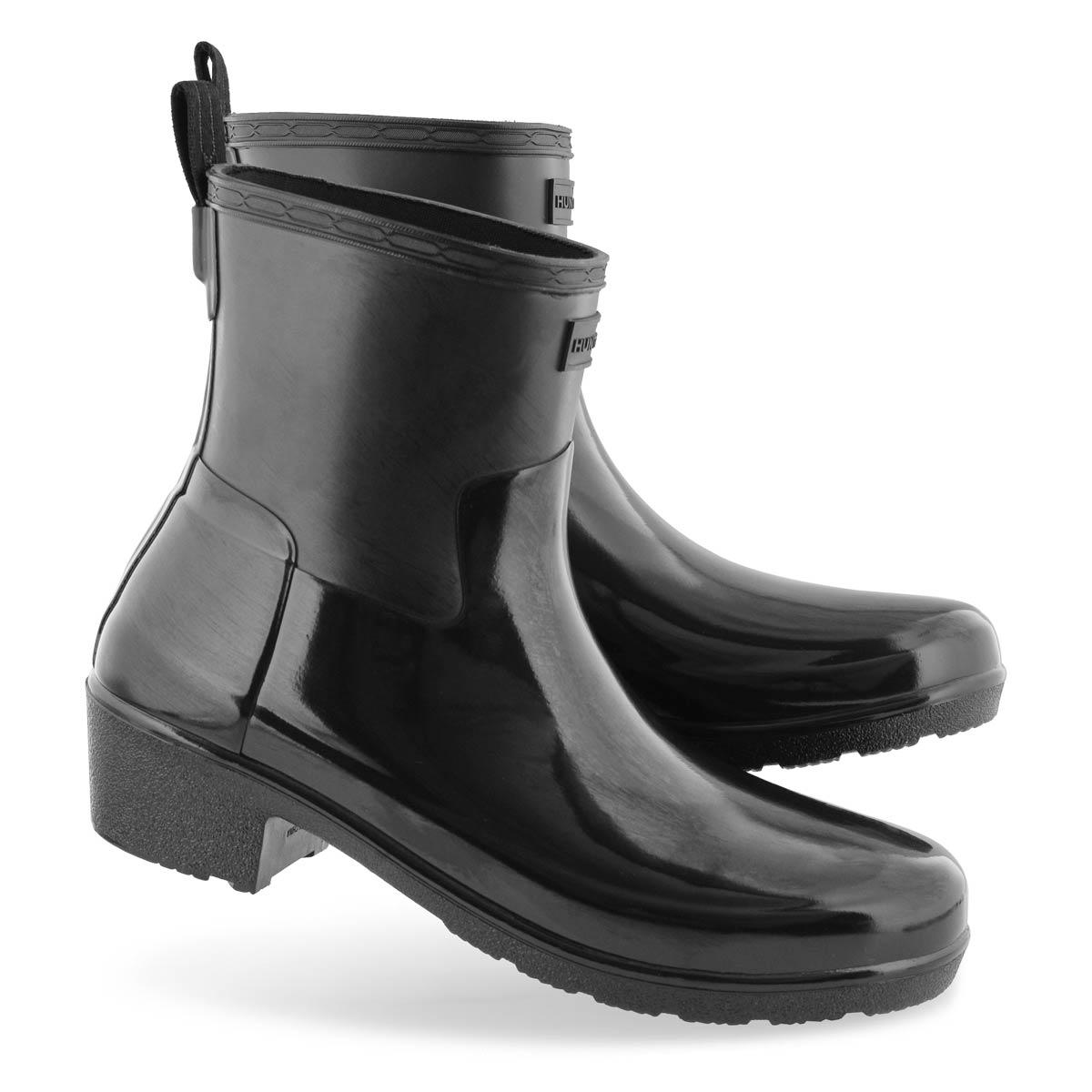 Lds RefinedLoHeelBikerGloss blk rainboot