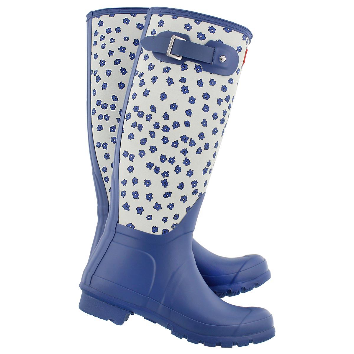 Lds Orig Tall Fest. Floral blue rainboot