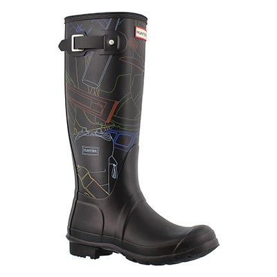 Hunter Women's ORIGINAL TALL FESTIVAL PRINT bk rain boots