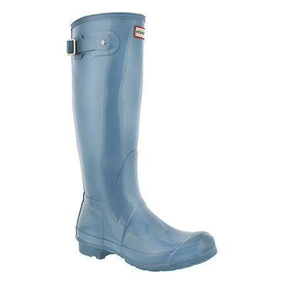 Hunter Women's ORIGINAL TALL GLOSS sky blue rain boots