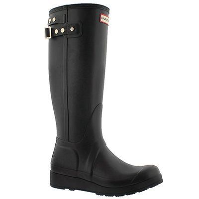 Hunter Women's ORIGINAL TALL WEDGE black rain boots