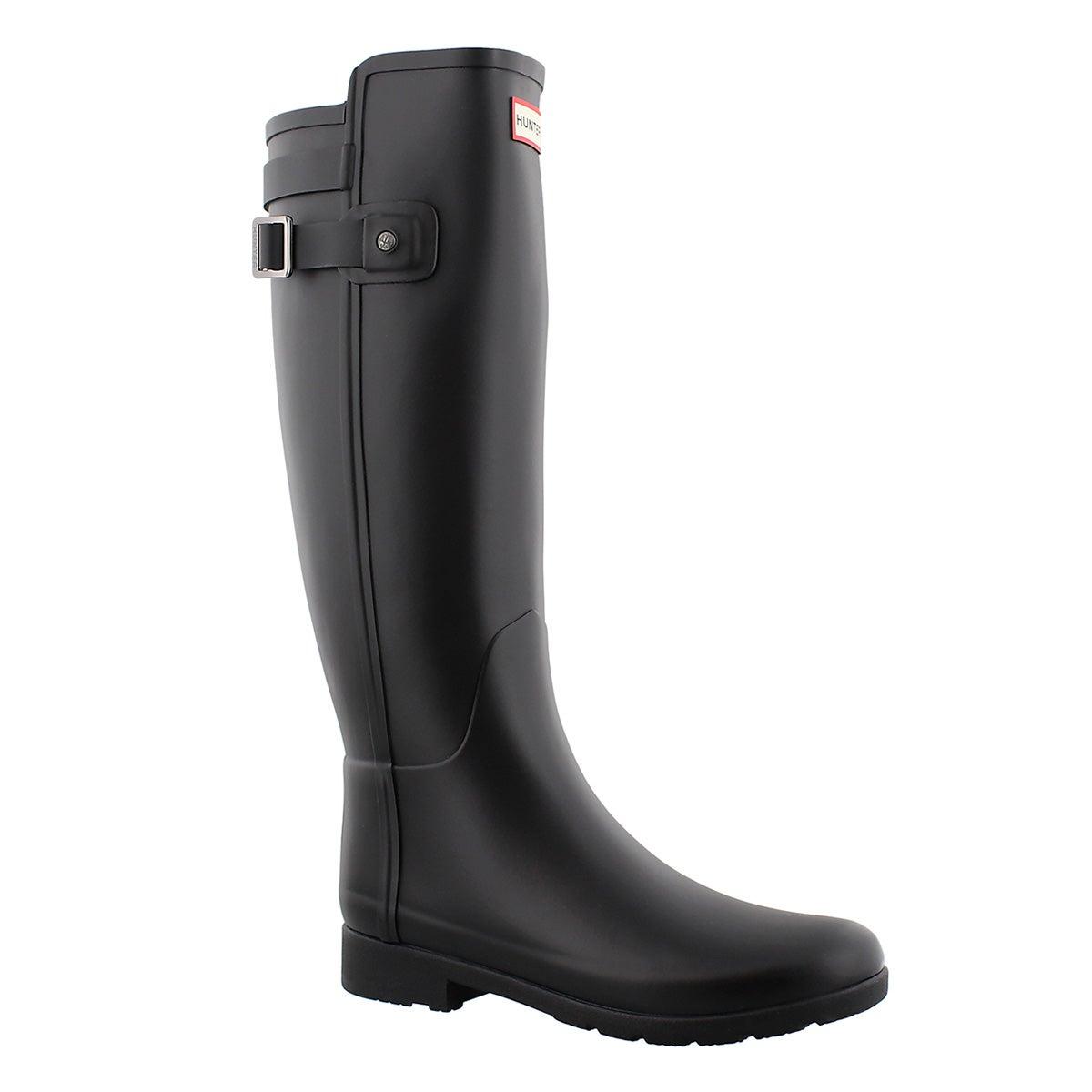 Women's REFINED BACK STRAP black rain boots