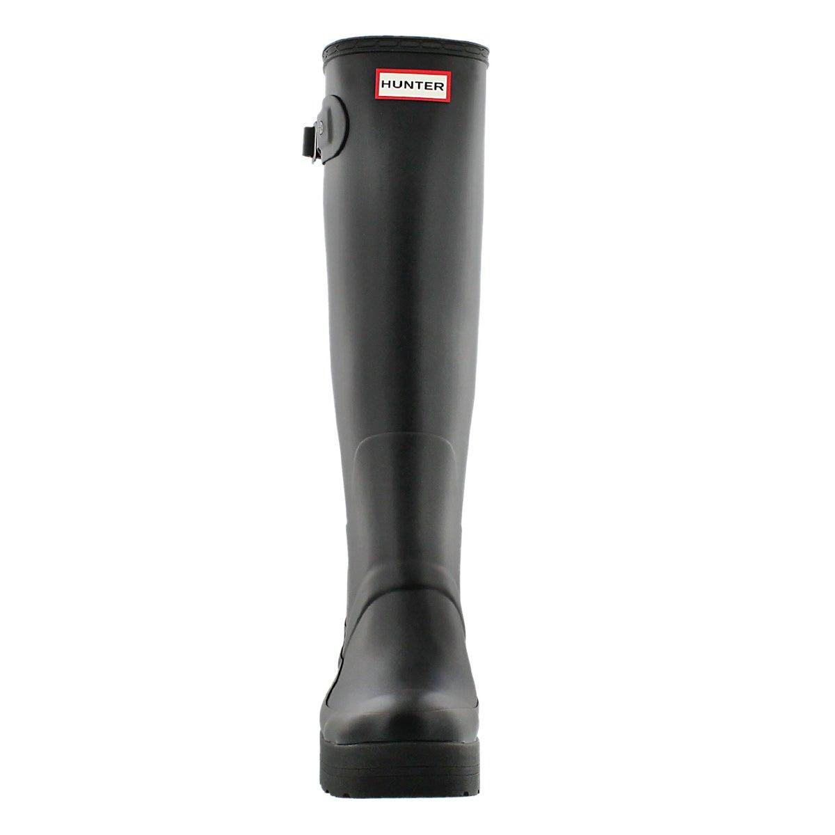 Lds Original Low Wedge black rain boot